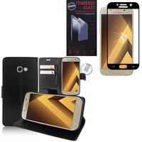 """Samsung Galaxy A5 (2017) 5.2"""" A520F/ A5 (2017) Duos: Etui Coque Housse Pochette Accessoires portefeuille support video cuir PU - NOIR + 1 Film de protection d'écran Verre Trempé"""