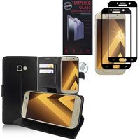 """Samsung Galaxy A5 (2017) 5.2"""" A520F/ A5 (2017) Duos  : Etui Coque Housse Pochette Accessoires portefeuille support video cuir PU - NOIR + 1 Film de protection d'écran Verre Trempé"""