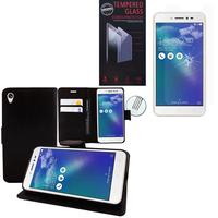"""Asus Zenfone Live ZB501KL 5.0""""/ Zenfone 3 Go : Etui Coque Housse Pochette Accessoires portefeuille support video cuir PU - NOIR + 1 Film de protection d'écran Verre Trempé"""