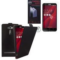 """Asus Zenfone 2 Laser ZE600KL/ ZE601KL 6.0"""": Etui Coque Housse Pochette Accessoires cuir slim ultra fine - NOIR + 1 Film de protection d'écran Verre Trempé"""