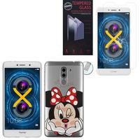 """Huawei Honor 6X 5.5""""/ 6X Pro/ GR5 2017/ Mate 9 Lite: Coque Housse silicone TPU Transparente Ultra-Fine Dessin animé jolie - Minnie Mouse + 1 Film de protection d'écran Verre Trempé"""