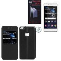 """Huawei P10 Lite 5.2"""" (non compatible Huawei P10/ P10 Plus): Etui View Case Flip Folio Leather cover - NOIR + 1 Film de protection d'écran Verre Trempé"""