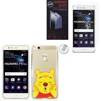 """Huawei P10 Lite 5.2"""" (non compatible Huawei P10/ P10 Plus): Coque Housse silicone TPU Transparente Ultra-Fine Dessin animé jolie - Winnie the Pooh + 1 Film de protection d'écran Verre Trempé"""