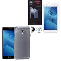 """Meizu M5 Note 5.5"""": Etui Housse Pochette Accessoires Coque gel UltraSlim - TRANSPARENT + 1 Film de protection d'écran Verre Trempé"""