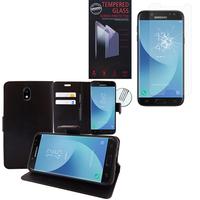 Samsung Galaxy J5 (2017) SM-J750F/DS/ J5 (2017) Duos J530F/DS: Etui Coque Housse Pochette Accessoires portefeuille support video cuir PU - NOIR + 1 Film de protection d'écran Verre Trempé