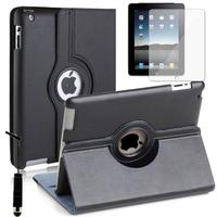 Apple iPad 2/ 3 (nouvel iPad) /4 Retina: Accessoire Etui Housse Coque avec support Et Rotative Rotation 360° en cuir PU + mini Stylet - NOIR