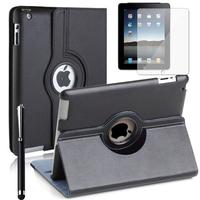 Apple iPad 2/ 3 (nouvel iPad) /4 Retina: Accessoire Etui Housse Coque avec support Et Rotative Rotation 360° en cuir PU + Stylet - NOIR