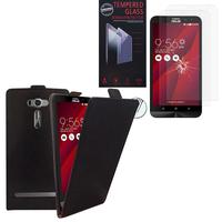 """Asus Zenfone 2 Laser ZE600KL/ ZE601KL 6.0"""": Etui Coque Housse Pochette Accessoires cuir slim ultra fine - NOIR + 2 Films de protection d'écran Verre Trempé"""