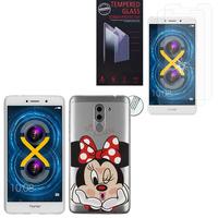 """Huawei Honor 6X 5.5""""/ 6X Pro/ GR5 2017/ Mate 9 Lite: Coque Housse silicone TPU Transparente Ultra-Fine Dessin animé jolie - Minnie Mouse + 2 Films de protection d'écran Verre Trempé"""