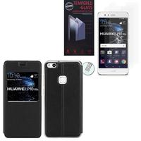 """Huawei P10 Lite 5.2"""" (non compatible Huawei P10/ P10 Plus): Etui View Case Flip Folio Leather cover - NOIR + 2 Films de protection d'écran Verre Trempé"""
