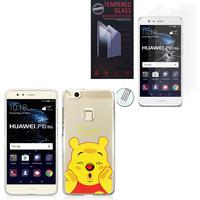 """Huawei P10 Lite 5.2"""" (non compatible Huawei P10/ P10 Plus): Coque Housse silicone TPU Transparente Ultra-Fine Dessin animé jolie - Winnie the Pooh + 2 Films de protection d'écran Verre Trempé"""
