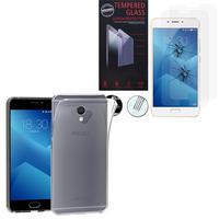 """Meizu M5 Note 5.5"""": Etui Housse Pochette Accessoires Coque gel UltraSlim - TRANSPARENT + 2 Films de protection d'écran Verre Trempé"""