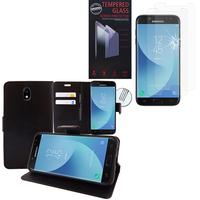 Samsung Galaxy J5 (2017) SM-J750F/DS/ J5 (2017) Duos J530F/DS: Etui Coque Housse Pochette Accessoires portefeuille support video cuir PU - NOIR + 2 Films de protection d'écran Verre Trempé