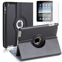 Apple iPad 2/ 3 (nouvel iPad) /4 Retina: Accessoire Etui Housse Coque avec support Et Rotative Rotation 360° en cuir PU - NOIR