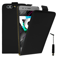 Huawei Honor 9 STF-L09/ Honor 9 Premium: Accessoire Housse Coque Pochette Etui protection vrai cuir à rabat vertical + mini Stylet - NOIR