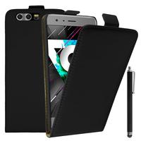 Huawei Honor 9 STF-L09/ Honor 9 Premium: Accessoire Housse Coque Pochette Etui protection vrai cuir à rabat vertical + Stylet - NOIR