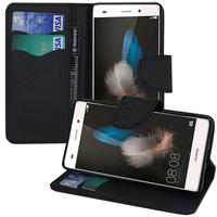 Huawei P8lite ALE-L21/ P8 lite ALE-L04 (non compatible Huawei P8): Accessoire Etui portefeuille Livre Housse Coque Pochette support vidéo cuir PU effet tissu - NOIR