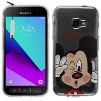 Samsung Galaxy Xcover 4: Coque Housse silicone TPU Transparente Ultra-Fine Dessin animé jolie + mini Stylet - Mickey Mouse