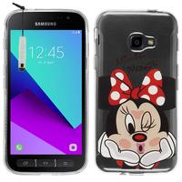 Samsung Galaxy Xcover 4: Coque Housse silicone TPU Transparente Ultra-Fine Dessin animé jolie + mini Stylet - Minnie Mouse