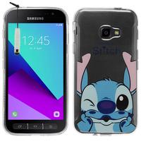 Samsung Galaxy Xcover 4: Coque Housse silicone TPU Transparente Ultra-Fine Dessin animé jolie + mini Stylet - Stitch