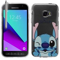 Samsung Galaxy Xcover 4: Coque Housse silicone TPU Transparente Ultra-Fine Dessin animé jolie + Stylet - Stitch