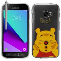 Samsung Galaxy Xcover 4: Coque Housse silicone TPU Transparente Ultra-Fine Dessin animé jolie + Stylet - Winnie the Pooh