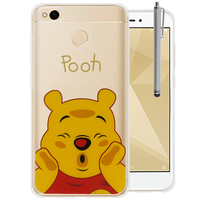 "Xiaomi Redmi 4X 5.0"": Coque Housse silicone TPU Transparente Ultra-Fine Dessin animé jolie + Stylet - Winnie the Pooh"