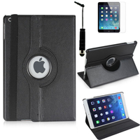 Apple iPad 5 (Air): Accessoire Etui Housse Coque avec support Et Rotative Rotation 360° en cuir PU + mini Stylet - NOIR