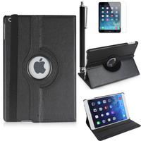 Apple iPad 5 (Air): Accessoire Etui Housse Coque avec support Et Rotative Rotation 360° en cuir PU + Stylet - NOIR