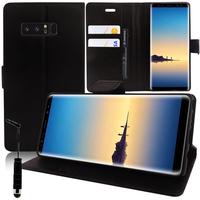 """Samsung Galaxy Note 8 6.3""""/ Note8 Duos: Accessoire Etui portefeuille Livre Housse Coque Pochette support vidéo cuir PU + mini Stylet - NOIR"""