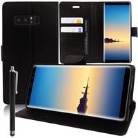 """Samsung Galaxy Note 8 6.3""""/ Note8 Duos: Accessoire Etui portefeuille Livre Housse Coque Pochette support vidéo cuir PU + Stylet - NOIR"""