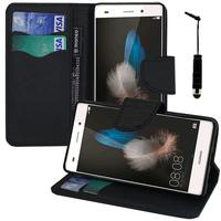 Huawei P8lite ALE-L21/ P8 lite ALE-L04 (non compatible Huawei P8): Accessoire Etui portefeuille Livre Housse Coque Pochette support vidéo cuir PU effet tissu + mini Stylet - NOIR