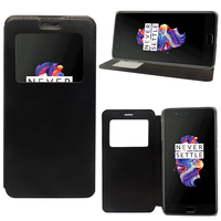 "OnePlus 5 A5000 5.5"": Etui View Case Flip Folio Leather cover - NOIR"