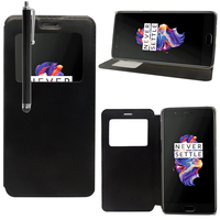 "OnePlus 5 A5000 5.5"": Etui View Case Flip Folio Leather cover + Stylet - NOIR"