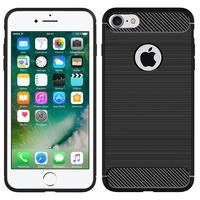 """Apple iPhone 7 4.7"""" (non compatible iPhone 7 Plus 5.5''): Coque Housse Silicone Souple en Fibre de Carbone Brossé motif TPU Case - NOIR"""