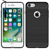 """Apple iPhone 7 4.7"""" (non compatible iPhone 7 Plus 5.5''): Coque Housse Silicone Souple en Fibre de Carbone Brossé motif TPU Case + mini Stylet - NOIR"""