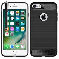 """Apple iPhone 7 4.7"""" (non compatible iPhone 7 Plus 5.5''): Coque Housse Silicone Souple en Fibre de Carbone Brossé motif TPU Case + Stylet - NOIR"""