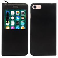 "Apple iPhone 7 4.7"" (non compatible iPhone 7 Plus 5.5''): Etui View Case Flip Folio Leather cover + mini Stylet - NOIR"