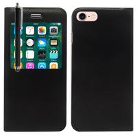 "Apple iPhone 7 4.7"" (non compatible iPhone 7 Plus 5.5''): Etui View Case Flip Folio Leather cover + Stylet - NOIR"