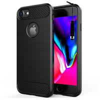 """Apple iPhone 8 4.7"""": Coque Housse Silicone Souple en Fibre de Carbone Brossé motif TPU Case + mini Stylet - NOIR"""