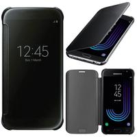 Samsung Galaxy J3 (2017) J330F/DS/ J330G/DS/ J3 Pro (2017) (non compatible Galaxy J3 2016/ 2015): Coque Silicone gel rigide Livre rabat - NOIR