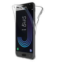 Samsung Galaxy J3 (2017) J330F/DS/ J330G/DS/ J3 Pro (2017) (non compatible Galaxy J3 2016/ 2015): Coque Housse Silicone Gel TRANSPARENTE ultra mince 360° protection intégrale Avant et Arrière - TRANSPARENT