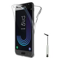 Samsung Galaxy J3 (2017) J330F/DS/ J330G/DS/ J3 Pro (2017) (non compatible Galaxy J3 2016/ 2015): Coque Housse Silicone Gel TRANSPARENTE ultra mince 360° protection intégrale Avant et Arrière + mini Stylet - TRANSPARENT