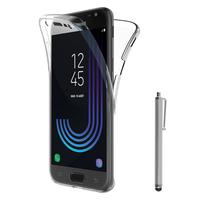 Samsung Galaxy J3 (2017) J330F/DS/ J330G/DS/ J3 Pro (2017) (non compatible Galaxy J3 2016/ 2015): Coque Housse Silicone Gel TRANSPARENTE ultra mince 360° protection intégrale Avant et Arrière + Stylet - TRANSPARENT