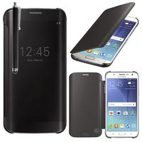 Samsung Galaxy J5 SM-J500F/ J500FN (non compatible Galaxy J5 (2016)): Coque Silicone gel rigide Livre rabat + Stylet - NOIR
