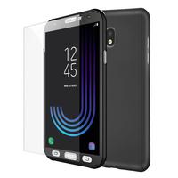 Samsung Galaxy J3 (2017) J330F/DS/ J330G/DS/ J3 Pro (2017) (non compatible Galaxy J3 2016/ 2015): Coque de protection intégrale 360° Avant Et Arrière Ultra Mince Ultra Léger avec Verre Trempé pour l'Ecran - NOIR