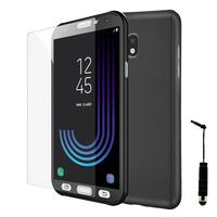 Samsung Galaxy J3 (2017) J330F/DS/ J330G/DS/ J3 Pro (2017) (non compatible Galaxy J3 2016/ 2015): Coque de protection intégrale 360° Avant Et Arrière Ultra Mince Ultra Léger avec Verre Trempé pour l'Ecran + mini Stylet - NOIR