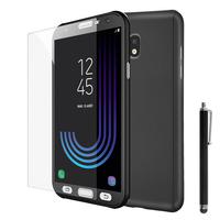 Samsung Galaxy J3 (2017) J330F/DS/ J330G/DS/ J3 Pro (2017) (non compatible Galaxy J3 2016/ 2015): Coque de protection intégrale 360° Avant Et Arrière Ultra Mince Ultra Léger avec Verre Trempé pour l'Ecran + Stylet - NOIR