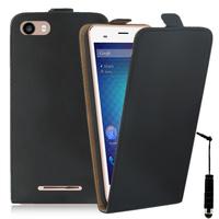 """BLU Dash M2 5.0"""": Accessoire Housse Coque Pochette Etui protection vrai cuir à rabat vertical + mini Stylet - NOIR"""
