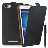 """BLU Dash M2 5.0"""": Accessoire Housse Coque Pochette Etui protection vrai cuir à rabat vertical + Stylet - NOIR"""